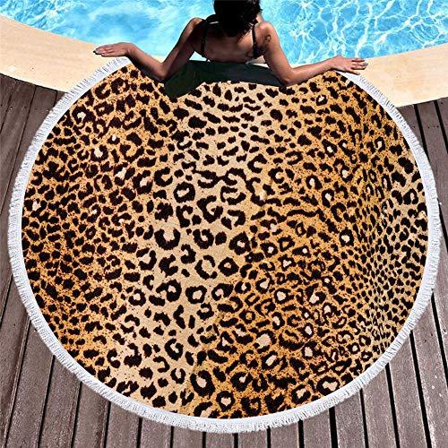FGVBWE4R Verano Nuevo 3D Animal Print Toalla de Baño Flor de Flecos Microfibra Toalla de Playa Piel de Animal Redondo Estera de Yoga Decoración del Hogar Leopardo Toalla de Playa-17