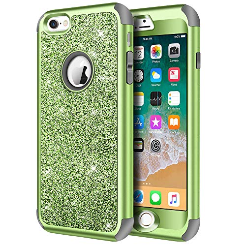 iPhone 6s Case, iPhone 6 Case, Hython Heavy Duty Full-Body Defender Protective Case Bling Glitter Sparkle Hard Shell Armor Hybrid Shockproof Rubber Bumper Cover for iPhone 6 and 6s 4.7-Inch, Green