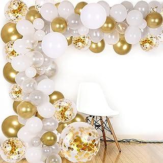 DIY Balloon Arch & Garland kit, 138Pcs Party Balloons Decoration Set, Gold Confetti & Silver & White & Transparent Balloon...