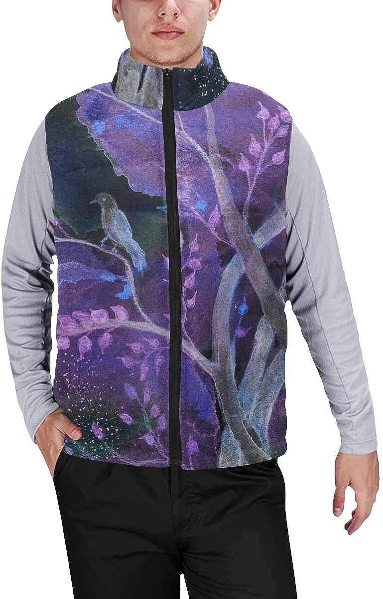 InterestPrint Men's Full-Zip Padded Vest Jacket for Outdoor Activities Pumpkin, Ghost, Bat, Spider