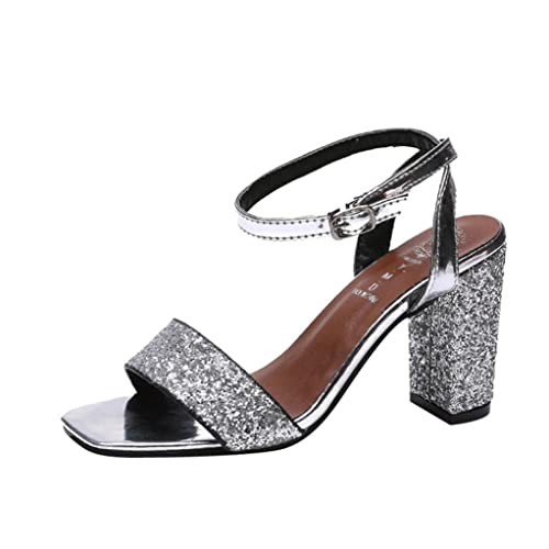 be1adf2bf33c Lolittas Summer Sliver Glitter Sparkly Sandals for Women ,High Block Heel  Ankle Strappy Embellished Evening
