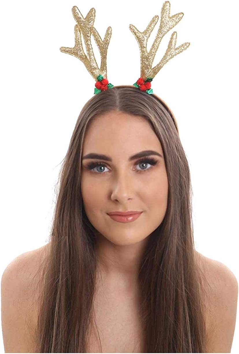 Rimi Hanger Womens Gold Glitter Reindeer Headband Ladies Christmas Party Hair Accessory One Size