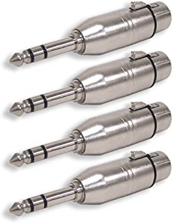 GLS Audio XLR Female to 1/4 Male TRS Adapter Gender Changer - XLR-F to 6.3mm Stereo Coupler Adapters - 4 Pack