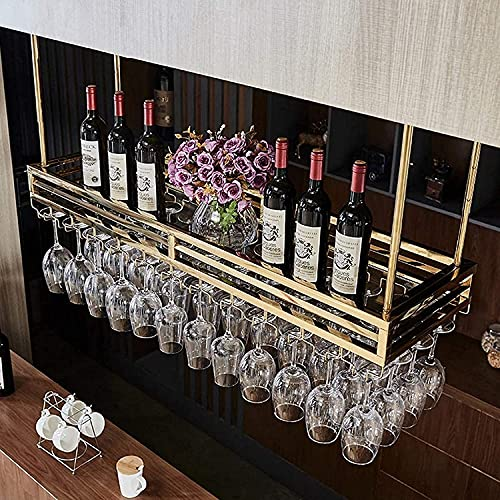 MQJ Estante de Vino, Bar, Restaurante, Rack de Copa de Vino, Tenedor de Talleres Colgantes para el Hogar Techo Suspendido Techo de Acero Inoxidable Rojo Titular de la Botella de Vino Grande,100X35Cm