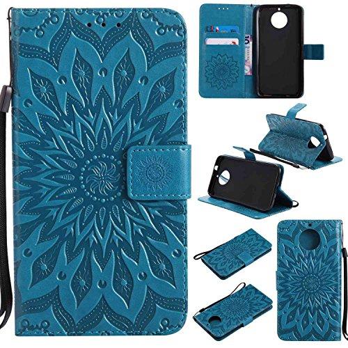 pinlu PU Leder Tasche Etui Schutzhülle für Motorola Moto G6 Plus Lederhülle Schale Flip Cover Tasche mit Standfunktion Sonnenblume Muster Hülle (Blau)