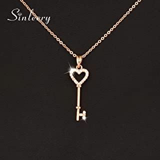Sweet Micro Pave Crystal Heart Key Necklace&Pendants for Women Brand Jewelry New (Rose Gold)