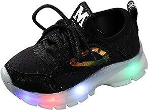 YWLINK Zapatos De Luz Led NiñOs Y NiñAs Lentejuelas Antideslizante Transpirable Zapatillas Luminosas Zapatos para Correr con Cordones Zapatos Casuales De Moda Navidad/AñO Nuevo