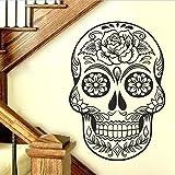 Sticker Decal Autocollant Mural en Vinyle Motif tête de Mort Mexicain Noir 101,6 x 71,1 cm