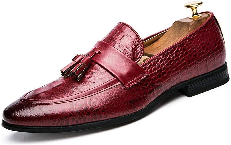 ZHRUI Men Tassel shoes Leather Formal Dress Office Footwear Elegant Oxford shoes for Men (color   Red, Size   8 UK)