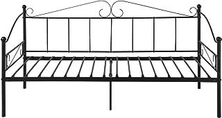 EGGREE Cadre de Lit Banquette en Métal, Lit Simple Canapé-Lit en Fer Forgé pour Enfants Adults, 90 x 190cm - Noir