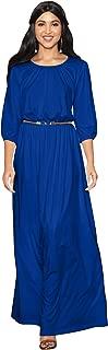 KOH KOH Womens Long 3/4 Sleeve Pleated Vintage Solid Fall Winter Maxi Dress