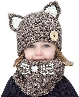 Rebecca Kids Knitted Hat Crochet Cat Ear Beanie Wool Skull Cap Scarf Set