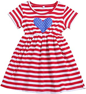 Toddler Baby Girl 4th of July Dress Short Sleeve T-Shirt American Flag Dress Independent's Day Clothes (Red, 1-2 Years)