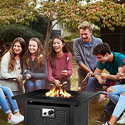 "GARTIO 28"" Propane Gas Fire Pit Table, 50,000 BTU Square Fire Bowl, Outdoor Fireplace with Auto-Ignition, Waterproof Protective Cover, Lava Rock, CSA Certification, for Garden/Patio/Courtyard/Balcon"