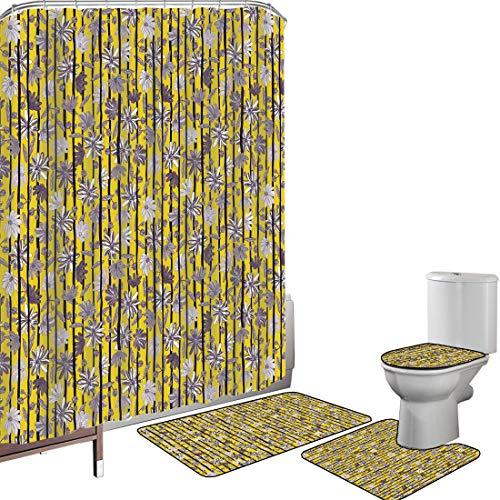 Juego de cortinas baño Accesorios baño alfombras Tropical Alfombrilla baño Alfombra contorno Cubierta del inodoro Exóticos tonos florecientes flores de lirio con barras de tallos patrón del Caribe,ama