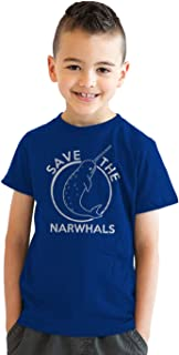 Youth Save The Narwhals Tshirt Funny Narwhal Unicorn Shirt for Kids