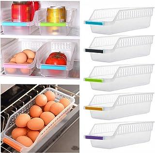 Senteen 5 Pcs Multifonction Organiseur de Refrigerateur Organisateur Frigo Suspendu Bac Rangement Frigo Empilable pour Stockage L/égument Fruit Oeufs