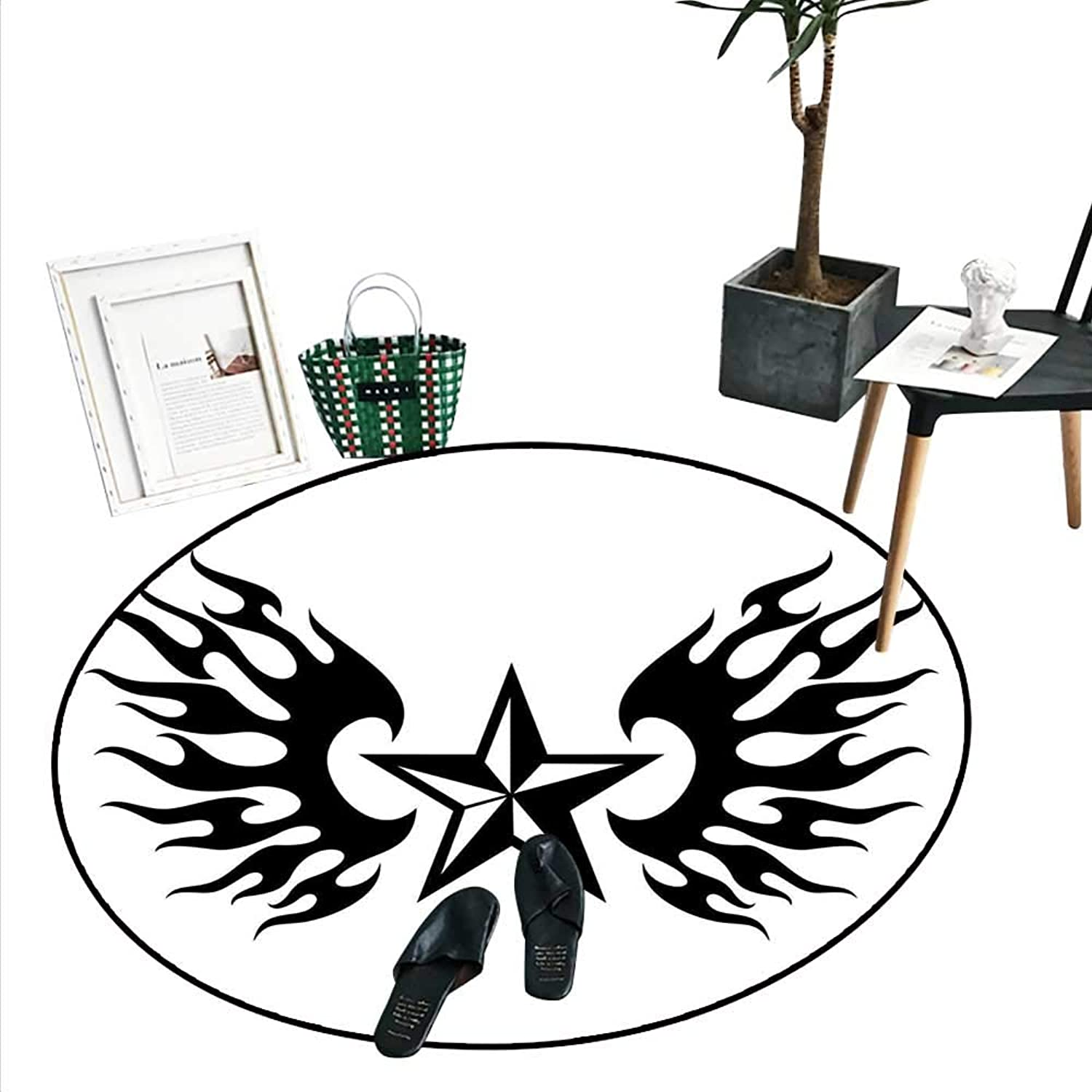 Texas Star Dining Room Home Bedroom Carpet Floor Mat United States of America Themed Star and Flames Silhouette Abstract Design Soft Area Rugs (4'2  Diameter) Black and White