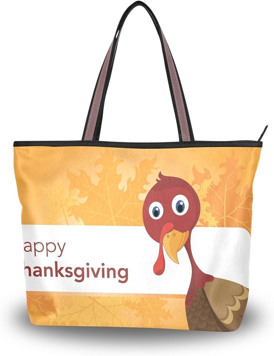 JSTEL Women Large Tote Top Handle Shoulder Bags Thanksgiving Turkey Patern Ladies Handbag