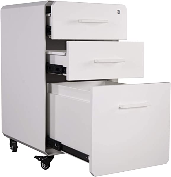 VARIDESK FileCabinet For Office Storage With Three Drawers White