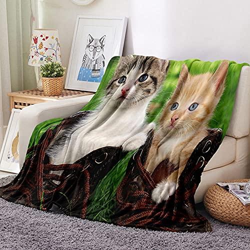 Manta De Cama 3D Gato con Zapatos Animal Lindo Manta Reversible Suave y Esponjosa De Lana Estampado Manta de Dormitorio para Cama Infantil Individual Matrimonio 150x200cm