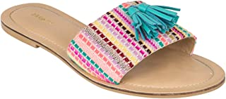 Chumbak Candy Stripes Pink Tasseled Embroidered Sliders for Women