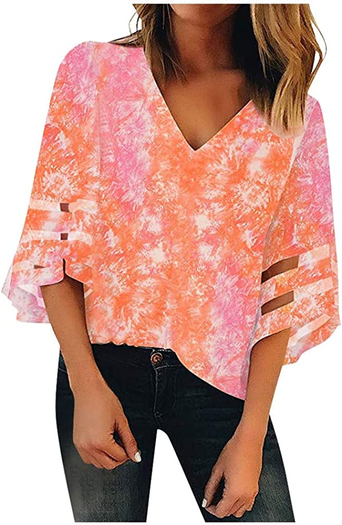 ZEFOTIM Women's V Neck Mesh Panel Blouse 3/4 Bell Sleeve Loose Top Shirt