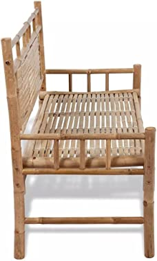 vidaXL Bamboo Bench with Backrest Garden Patio Chair Seat Outdoor Furniture