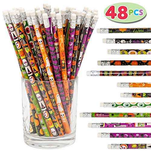 JOYIN 48 Pack Halloween Pencil Assortment with Eraser in 12 Design for Halloween Gift Prize Party Favor Party Supplys