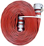 """JGB Enterprises A008-0321-0100 Eagle Red PVC Discharge Hose, 2"""" x 100', Aluminum Type C and E Cam Locks, 150 psi Working Pressure, -14 Degree F to 170 Degree F"""