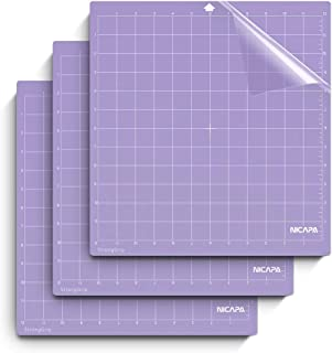 Nicapa StrongGrip Cutting Mat for Silhouette Cameo 3/2/1 (12x12 inch,3 Mats) Strong Adhesive Sticky Quilting Cricket Cut Mats Replacement Accessories for Silhouette Cameo