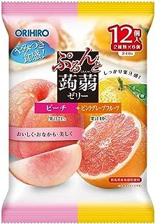 オリヒロ ぷるんと蒟蒻ゼリーパウチ ピーチ+ピンクグレープフルーツ 20gx12個