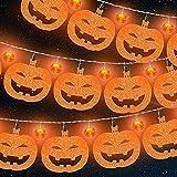 Luces de Halloween de 6,3 Pies 12 LED Luces Centelleantes de Cadena de Calabaza con 11 Decoraciones de Calabaza, Decoración de Halloween Funcionada por Pilas para Jardín, Interior, Porche, Exterior