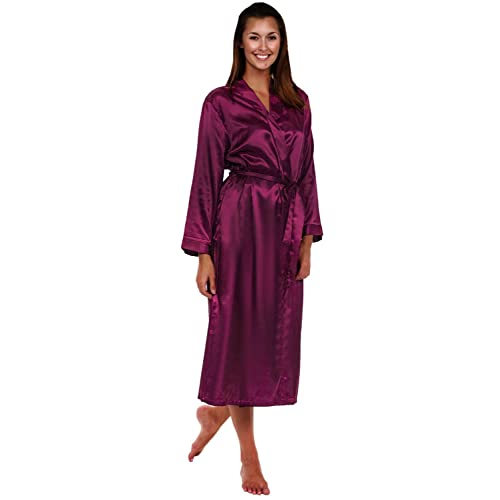 f47d484966 Alexander Del Rossa Womens Solid Colored Satin Robe