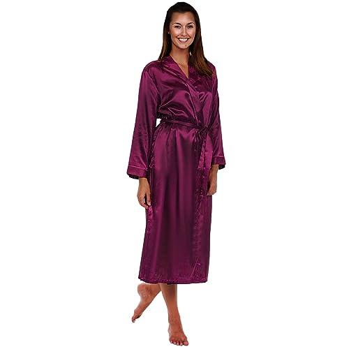e4edd1636e0e7 Alexander Del Rossa Womens Solid Colored Satin Robe