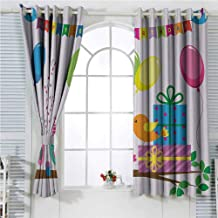 hengshu Birthday Decorations for Kids Soundproof Curtains for Bedroom Singing Birds Happy Birthday Song Flags Cone Hats Party Cake Sliding Curtains for Patio Decor W72 x L107 Inch Multicolor