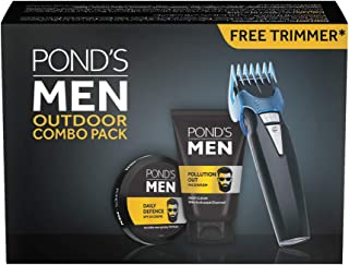 POND'S Men Pollution Out Face wash & Daily Defence Face Creme,100gm face wash and 55gm cream with Free Trimmer Combo