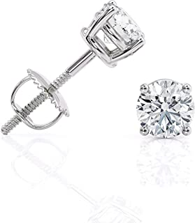 March Wellingsale 14K Yellow Gold Polished 5mm Round Bezel Set Birth CZ Cubic Zirconia Stone Stud Earrings With Screw Back