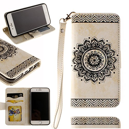Black Deals Friday Cyber Deals Monday Deals-for iPhone 7Plus Wallet Case,Valentoria Mandragora Flower Premium Vintage Emboss Leather Wallet Pouch Case with Wrist Strap for iPhone 7 5.5inch (White)