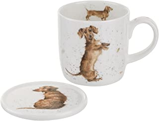 Royal Worcester Wrendale Designs Hello Sausage Mug & Coaster Set