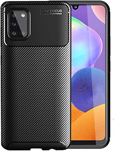 Crombie Soft Silicone Shockproof Bumper Carbon Fiber Mobile Cover Slim Mobile Back Cover Custom Cut Outs Allow Full Acess Compatible For Samsung M31S Black