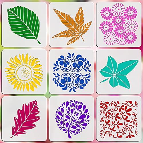 OOTSR 9Pcs Plantillas de Dibujo, Flores Hojas Plantillas de Pintura Reutilizables, Plantillas Stencil Flores Plantillas de Plástico para Manualidades, Pintura Sobre Madera Paredes-13x13cm
