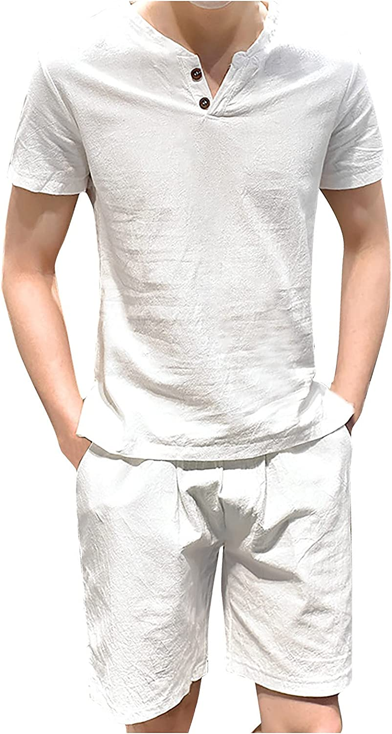 Mens Linen Outfits 2 Piece Set Plus Size Summer Solid Color T-Shirt and Shorts Set Two Buttons Casual Loose Men Set