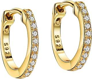 Huggie Hoop Earrings 18K Gold Plated 925 Sterling Silver CZ Pave Earrings Women Small Hoop Earrings Stacking Earrings