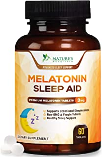 Melatonin Sleep Aid for Adults, Triple Strength Sleeping Pills 3mg - Easy to Take, Faster Absorption, Made in USA, Sleeping Aid Supplement - Fall Asleep Faster, Stay Asleep Longer - 60 Tablets