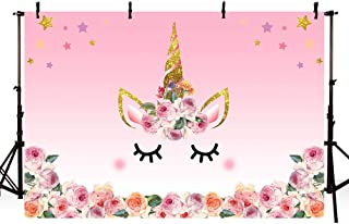 MEHOFOTO 5x3ft Photography Background Unicorn Birthday Party Photo Backdrop Background Watercolor Flowers Roses Cute Stars Smiling Face Baby Shower Unicorn Head Sweet Pink Girls Photo Portrait Studio