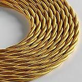 Klartext - Cavo tessile trecciato LUMIÈRE per illuminazione, 3x0,75mm, Oro, 3mt.|Attenzione: cavo terra incluso! Massima sicurezza anti scossa!