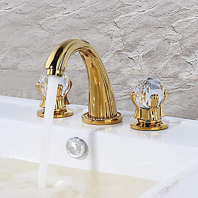 AmzGxp Moderne helle Goldene Zwei Griff DREI-Loch Bad Wasserhahn Waschbecken Wasserhahn
