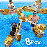 TURNMEON 8 Pcs Battle Log Rafts Inflatable Pool Float Row Toys for 4 Players Adults Kids Summer Swimming Pool Party Water Sports Outdoor Games Pool Float Water Toys for (57' x 14')