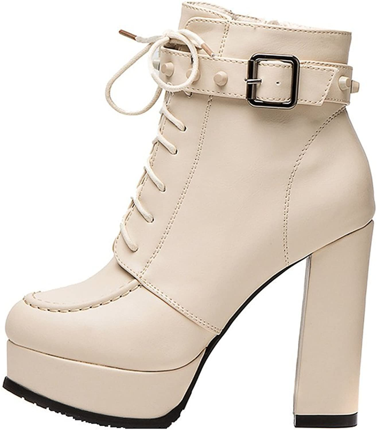 Sothingoodly Pretty Women's Fashion Chunky Heels Lace-up Booties